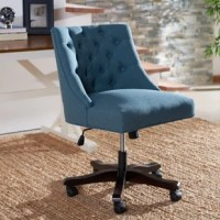 A well-edited workspace calls for a carefully-curated chair – and this design is it! Its solid wood frame showcases an on-trend arm-less design that's wrapped in upholstery and accented by button-tufted details for a touch of traditional charm. Caster wheels on its five-pronged base make it easy to glide from the computer to the printer and back, while an adjustable height ensures you always find that perfect angle as you tackle today's to-do list.