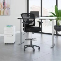 Have a healthy and productive day at the office with the height-adjustable standing desk, mobile file cabinet, and drafting chair. Those who use sit to stand desks report improved attitudes, energy, and comfort while accomplishing more and provides an affordable solution. Change positions throughout your day without missing a beat in your home office or at work. Store your favorite heights with four programmable presets so you can use them as often as you like. A thermally fused laminate finish...