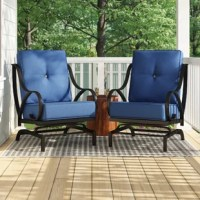 To pair with a fire pit table or enjoy on their own, these spring chairs will make the perfect comfortable settings for any outdoor entertainment. This set includes two iron-framed deep seating spring chairs and two sets of thick cushions. Crafted of durable iron that is welded with a stylish design, this spring chair is black powder coating finished and rust-resistant.