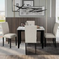 The combination of the wood frame and the marble tabletop adds a modern feel. The marble tabletop has a unique luster appearance and is most suitable for any dining space, kitchen area, and so on.