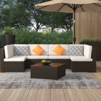 Elegant and sleek, this product is the perfect addition to upgrade your outdoor garden or patio. Featured lightweight but strong rattan wicker and a sturdy and rust-resistant iron frame, this combo ensure long-term use. The warm brown rattan against the light cushioning provides a striking contrast that will give your space a modern feel, along with the spacious 6 person seating area for yourself and guests to enjoy. This set is ideal for comfortable seating and entertaining outdoors, which is...