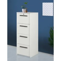 Keep organized in a home or business office space with this four-drawer lateral file cabinet. A contemporary design perfect for modern living, the cabinet features four drawers with hanging file bars. Storing and accessing paperwork is suddenly simple and easy. The cabinet offers a versatile white woodgrain finish over laminate surfaces and each drawer is complete with a nickel finish bar pull to complement its sleek look and feel.