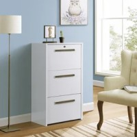 Keep organized in a home or business office space with this three-drawer lateral file cabinet. A modern design perfect for contemporary living, the cabinet features three drawers with hanging file bars. Storing and accessing paperwork is suddenly simple and easy. The cabinet offers a versatile white woodgrain finish over laminate surfaces and each drawer is complete with a nickel finish bar pull to complement its sleek look and feel.