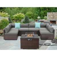 This multi-sectional patio couch set and the propane round fire table go together with any way you like. The stylish fire pit draws in an audience to keep warm as they chat around the fireside, admiring your taste in outdoor furniture. Your family and guests will love this elegant set!