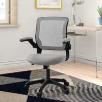 Get to work in contemporary comfort with this task chair. Enveloped in a breathable mesh upholstery, this chair features a full back, padded arms, and a contoured seat with a waterfall edge. Its black base includes hooded double caster wheels for effortless mobility, while a 360° swivel mechanism lets you glide from task to task with ease. Rounding out the design.