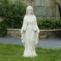 This peaceful Virgin Mary Garden Statue brings a soothing inspiration to patios or garden beds by featuring rich detail in a gray stone finish. The MgO construction is ideal for all weather conditions, even in extreme temperatures. This Virgin Mary outdoor statue comes in a classic gray stone finish and is 30in. H.