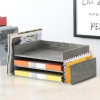 Cut down on clutter and add rustic charm to your workspace with this 3 tier weathered gray wood document tray. This desktop organizer is perfect for holding standard-size documents, folders, notepads, and magazines, keeping them easily accessible. Letter sorters on the sides can hold standard to large-size envelopes. Featuring a stylish weathered vintage aesthetic and taking up minimal desk space, this desktop organizer tray is an excellent addition to any office. **Office Supplies not...