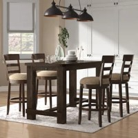 The Micaela Brown Brushed Wood Counter Height Dining Set is an impressive addition to any impeccably designed dining area. The counter height table makes it easy for walk-up to help with homework, game nights, and laid-back meals. This table is constructed from solid acacia wood in rich brushed brown finish lets the wood grain pop and fits in seamlessly with most existing décor. Perfect if you've been looking to upgrade your space, the counter-height stool of this set features a classic...