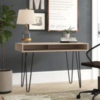 Add a touch of elegance, with the functionality of storage space, with this minimalist product. It features clean lines and a simplistic design that makes it the perfect accent for home or the office. The built-in open storage space, beneath the desktop, allows you to keep items handy without cluttering the desk's surface. Featuring a 0.5