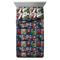 Join Hulk, Iron Man, Thor, Captain America, Groot, Black Panther & Black Widow from the Avengers team and fight crime from your bed. Transform any child's bedroom with this Marvel Avengers Team Single Reversible Comforter. Sure to keep you warm, this reversible comforter is stuffed with polyester fill for loft and cozy comfort. Quilt stitching holds fill in place and adds decorative flair. Durable polyester fill is soft, comfy and warm. Reversible design allows you to instantly change the look...