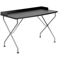 If you're seeking a desk that is simplistic, yet attractive, the black computer desk with raised border and silver metal frame might be what you're looking for. The large surface desk is open to provide you with plenty of work space for papers, writing utensils and a laptop. The raised border prevents papers from easily falling off the edge of the table. The attractive silver powder coated crisscross legs add a modern touch to keep it in style to grow with your preteen to college bound student....