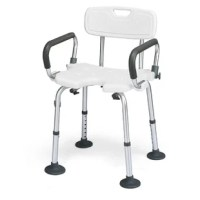 Make it easier for seniors, the elderly, or people with mobility issues or recovering from an injury with our bath chair. Constructed of heavy-duty aluminum, this bath chair features an anti-skid PE seat, making it safe and durable to use in the bathroom. The wide seat and backrest, padded armrest, drainage holes, and anti-slip suction cups offer added comfort when sitting for an extended period of time and safety when getting out of the chair. With an adjustable height of 14''-19'', it offers...
