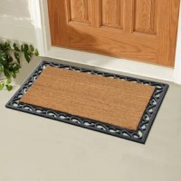 Keep your floor clean when you decorate your entryway with the first impression tray doormat, which includes a sturdy rubber backing to help keep the rug in place and prevent slips. The attractive design of this rubber doormat creates a welcoming entrance for your guests and the durable coir material holds up to lots of foot traffic. Crafted of all-natural rubber and coir, this doormat is an excellent decorative accent for your doorway.