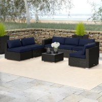 This patio sectional furniture set with a modern low back design is crafted with strong powder-coated steel and all-weather handwoven rattan, matching high-density olefin fabric cushions. Durable and stable for your outdoor, patio, deck, backyard, porch, and even pool use.