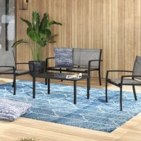 Modern and simplicity style 4 pieces of outdoor patio furniture perfect for any outdoor space using and fulfill your purpose to decorate the area you desire, assemble easily. Wide range of applications, a good choice for patio, porch, backyard, balcony, poolside, and other suitable space in your home or garden.