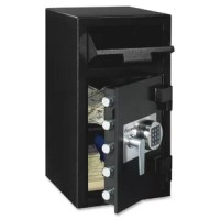 This depository electronic lock safe is the ideal choice for safely storing cash, checks, depository slips, credit cards and other important documents. Its programmable electronic lock with time delay helps prevent multiple break-in attempts while anti-pry door, anti-fish hopper and hardened steel anti-drill lock plate help prevent unauthorized access. Bolt-down kit (hardware included) helps prevent unauthorized removal of the safe. The safe provides a 1.34 cubic feet capacity with five-live...