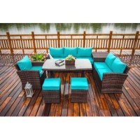 This Benedetti 7 Piece Rattan Sofa Seating Group cushion provides a great opportunity to transform a garden into a fantastic relaxation space, where you can spend quality time with family and friends. This larger set comes complete with an ottoman and table with a 5mm thick tempered glass top. The comfortable and plush cushions are covered in a luxury fabric which can be easily washed when needed, this set will create a focal point in your garden effortlessly It should be noted that in hot...