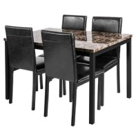 The dining table set combination can immediately enhance your dining flavor. The exquisite rectangular square table is lined with artificial marble and metal brackets, which can add luster and farewell to the mediocre restaurant. The chair is made of high-quality vinyl cushions and is more comfortable to use. The tabletop is made of high-density board and is coated with a high-quality waterproof coating to extend its service life while retaining only this dining table and chairs. This is a wet...