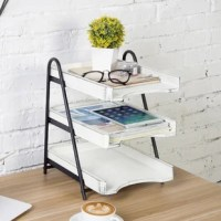 Providing an abundance of document storage in a small footprint, this ruggedly vintage white wood and 3-tier metal document tray is an essential desktop accessory for maintaining an efficient and organized workplace. Its compact size frees up space on your desk for other office supplies, and its sleek, vintage wood construction will great displayed on the desk of your home or office.