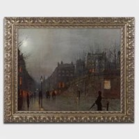 This ready to hang piece in a gold ornate frame features people walking in city streets at night.