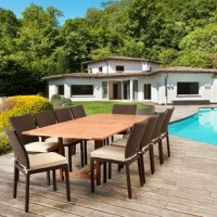 The Akron 11 piece dining set adds a contemporary appeal to any outdoor area with the carefully crafted modern design. The eucalyptus dining table pairs perfectly with the wicker chairs for a simple, modern look. This set combines luxury, beauty, comfort, and an affordable price. The eucalyptus wood is FSC certified and of the utmost quality. The chairs are constructed with high quality, resin wicker with rust-free aluminum frames. They also come with off- cushions that add a nice contrast to...