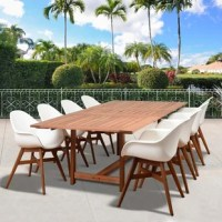 Kessinger 9 piece deluxe eucalyptus extendable dining set brightens up your patio or deck with a wood table and chairs. The natural eucalyptus wood is a perfect match for every patio and will give your backyard the class and elegance for outdoor dining. The resin chairs complement the natural eucalyptus table enhancing the beauty of your outdoor area. This collection combines luxury, beauty, comfort, and an affordable price. The set is made of solid Eucalyptus wood, grown in 100% well-managed...