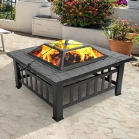 The fire pit is a good choice for you to have a family gathering or party after a busy work week. You can barbecue your favorite foods with the charcoal fire pit anywhere, include beach, patio, poolside, park, garden, terrace and even you are camping. Made of iron frame, its heat-resistant brazier with holes can circulate air, making the fire burn up. The mesh lid can prevent sparks from splashing, resist insects and wind. The fire pit also equipped with a log grate and a poker for the use of...