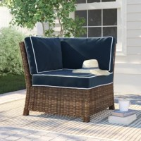 Designed to make downtime as comfortable as it is fashionable, relax in this style with this casual-chic corner seat. Built on a steel frame, this seat has no arms so it can be added to a set or stand on its own. Wrapped in a weather-resistant wicker, so this sofa can stick around for a few seasons. The seat and two back cushions are upholstered in a UV-resistant polyester and filled with foam for an inviting look and feel. Plus, the cushion covers can be removed for a quick clean. Assembly...