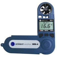 The Ambient Weather WM-4 is a comprehensive handheld wind meter, directional compass, comfort index monitor, and psychrometer, all in one compact, portable, rugged package. The WM-4 measures wind speed, wind direction, temperature, relative humidity, and compass direction, and calculates wind gust, dew point, wet bulb and dry bulb temperature, Delta T, wind chill, and comfort index.  It has a USA-made fluxgate compass for precise digital wind direction measurement, and it can also be used to...