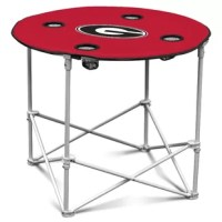 This portable table is made of 600 denier polyester. Height matches the canvas or deluxe chairs for easy dining. Folds up for easy storage and transport. Features screen printed logo and four cup holders.