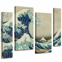 Katsushika Hokusai 'The Great Wave Off Kanagawa' 4 piece gallery-wrapped is a high-quality canvas print of a towering tsunami about to engulf overmatched ships. This brilliant work will make a breath-taking addition to any home or office.