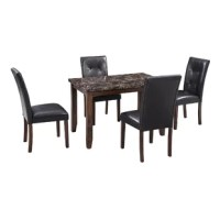This dining set includes a table and four matching chairs for the whole family to enjoy. The table and chair legs are fitted with rubber protective footpads that can protect your floor from scratches while ensuring the table and chairs maintain their stability. The combination of rubberwood frame and the marble tabletop adds a sense, and the artificial marble tabletop has a unique glossy appearance, which is most suitable for any dining space, kitchen area, etc.