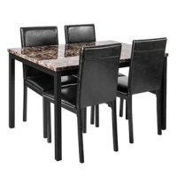 This 5 pieces dining set could adds some modern charm to your home. The combination of black PU leather seats and a sturdy metal frame providing greater comfort and durability. 4 dining chairs and a dining table provide plenty of space for your family or friends. The faux marble table is classic and timeless, and the entire table has a modern design that helps to blend into various home decor.