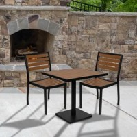 Create the perfect space for dinners outside, relaxing evenings, and great conversations at your restaurant, cafe, or on the deck at home with this table and chair set. The dining chair boasts a slatted poly back and seat and lightweight aluminum frame to hold those al fresco dinners, board games, and pool accessories with ease. This patio set is weather and rust-resistant so you won't need to move it or put it away when the seasons change. The faux teak slats pair nicely with the black...