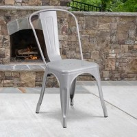 This chair stacks up to 8 chairs high, curved back with vertical slat, drain holes in seat, silver powder coat finish, cross brace under seat provides extra stability, plastic caps on cross brace protect finish when stacked, protective rubber, floor glides, designed for indoor and outdoor use, designed for commercial and residential use.