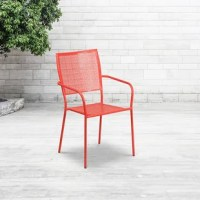 This chair stacks up to 8 chairs high. Square back. Integrated arms. Rain flower seat and back design. Coral powder coat finishes with 1.2 mm tubular frame. Plastic floor glides. Lightweight design. For indoor and outdoor use. Designed for commercial and residential use.