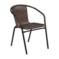 This chair stacks up to 23 chairs high, curved back, dark brown rattan seat and back, integrated arms, cross braces provide extra stability, black powder-coated frame finish. Plastic floor glides, lightweight design, designed for indoor and outdoor use, designed for commercial and residential use, ships fully assembled.
