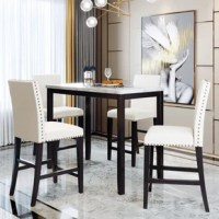 Dining table and chairs crafted MDF frame finish is built for durability to last for years to come, while also compact in design to accommodate small spaces.