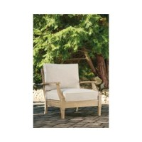 An effortlessly elegant choice in outdoor furniture, this patio chair with cushions marries sturdiness and style in such a delightful way. For that much more weather protection, the chair's eucalyptus wood frame with tapered touches and slat styling is treated to a 5-step finishing process. Sumptuously soft yet remarkably durable, the included cushions are wrapped in a high-performing, low-maintenance Nuvella® fabric you're sure to love.