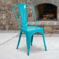 This chair stacks up to 8 chairs high. Curved back with vertical slat. Drain holes in the seat. Crystal teal-blue powder coat finish. Cross brace under seat provides extra stability. Small caps on cross brace protect finish when stacked. Protective rubber floor glides. Lightweight design. Designed for indoor and outdoor use. Designed for commercial and residential use.