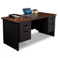 Your office design will be easy and affordable with a  desk. The  desk with file storage solutions help you to be more organized and work in comfort. This desk features an easy-care melamine laminate top with sturdy black color steel frame and pedestal for a complete desk and file storage solution.