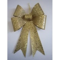 Adorn your front door or put a finishing touch on your large Christmas presents with this shiny bow! Crafted from plastic, this set features two bows with a glitter finish and colorful sequins that add a touch of glam for the holidays. Its versatile, water-resistant design makes it perfect for decorating shrubs or garage doors, while its shatterproof silhouette stands up to the elements. A convenient hanger is included to help you hang this in place, and it's ample 30'' H x 12'' W measurement...