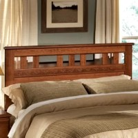 Bring an eye-catching focal point to your sleep scape with this stylish headboard. Made from manufactured wood with solid wood veneers awash in a cherry finish, this 47