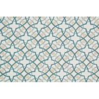 Add a pop of pattern to your living room or master suite with this artfully hand-woven rug, showcasing a bold geometric motif in teal and ivory.