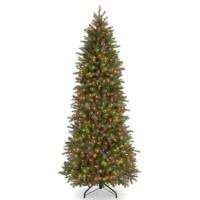 This branch tip technology, creating a tree with remarkable realism. These crush-resistant branch tips are molded from real tree branches for an authentic living tree appearance. This slim profile tree, pre-strung with 550 multi-color lights, is great for display in corners or limited space areas. Three-section construction and hinged branches add to ease of assembly. The sturdy folding metal tree stand is included.