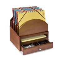 This pre-configured wooden desk set includes a letter tray, supplies drawer and step up project file. The edges of each piece are routed to interlock with the entire Desk Organizers Collection. You can reconfigure this kit and add on other components as your needs change. Ideal for home or office.