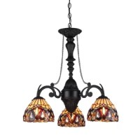 Serenity, a Victorian Era influenced, down-hanging, mini chandelier will make a design statement by itself. Expand the effect by adding one or more of the other lamps in this design style. Expertly handcrafted with top quality materials including real stained glass and sparkling crystals. Finished in an antiqued bronze patina.