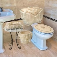 Four piece bathroom set will dress up your standard toilet, Set includes toilet seat cover, tank cover, Tissue Box Cover and Waste basket, Decorate your bathroom with this cream colored lace toilet waste basket, toilet tank cover, toilet seat cover and Tissue box Cover, Fit standard sizes, 100% Polyester, Machine washable.