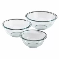 Add a measure of consistency to your kitchen with the Pyrex Prepare 3 Piece Glass Mixing Bowl Set that is sturdy and easy-to-read. Measurement indicators and the easy to grab handle are designed to make it easy to mix, measure and pour.