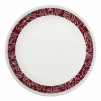 The original break and chip resistant glass dinnerware. Trust that it can stand up to the rigors of everyday life and still look great. 3-Year replacement warranty against breaking and chipping! The deep red bank with intricate white details builds on the east meets west trends. This pattern provides that special spark to illuminate your dining experience and warm your table.